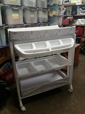 White Baby Changing Dresser Station Unit Table With Wheels — 3 Levels