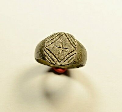 Large Lovely Roman Bronze Ring With Cross On Bezel - Wearable