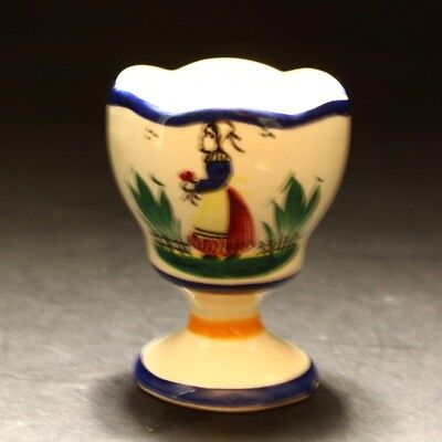 Vintage Henriot Quimper France Faience French Breton Lady Pottery Egg Cup