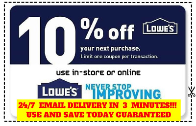 THREE (3x) Lowes 10% OFF Coupons Discount -Instore & online - Fast Fast Delivery