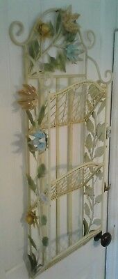 ITALIAN TOLE Antique WALL MAIL HOLDER Metal Art FLOWER LEAF Wrought Iron