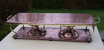 Antique Arts & Crafts Loveridge Copper Double Burner Table Food Warmer/Heater