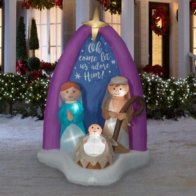 Christmas Air Blown Inflatable 6' Nativity Scene w/ Mary, Joseph, and Baby Jesus