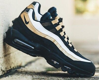 NIKE AIR MAX 95 OG AT2865-002 Black Metallic Gold Men's Sneakers Brand New NOW!