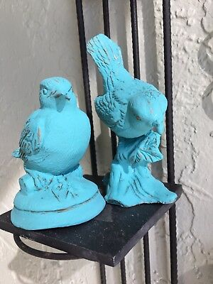 """Vintage Cast Iron Hand Painted Birds 3.75"""" And 4"""""""