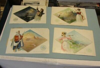 Clark's ONT Spool Cotton People of the World 4 Large Victorian Trade Card Lot