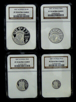 2007-W PF-70 ULTRA CAMEO Platinum Proof Statue of Liberty 4 coin set NGC