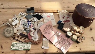 A Good Lot Of Vintage & Antique Sewing Items In An Antique Collar Box