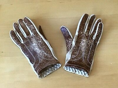 St MICHAEL LADIES VINTAGE STYLE GLOVES SIZE 7 SMALL FIT LEATHER/FABRIC MIX