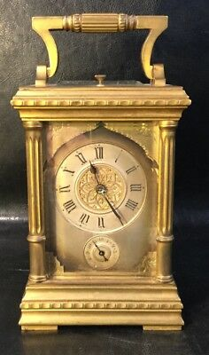 Antique 19thC French Gilt & Silver Overlay Repeater Carriage Clock Spaulding CO