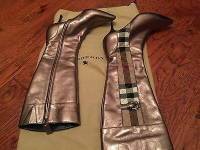 d8cf566a2131a  800 Burberry Leather Zip Tall Boots- Sz 37 7- New Without tag