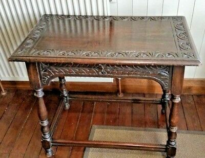 Antique Carved Oak 19th Century side Table