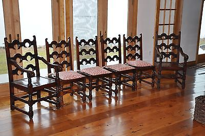 Carved Antique European / English Oak Dining Chairs / Set of 8