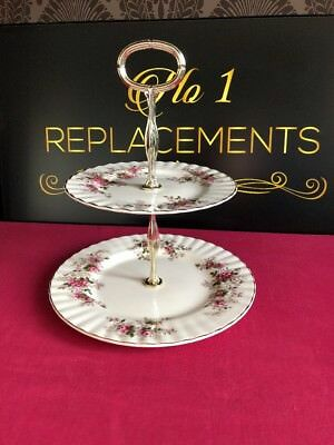 Royal Albert Lavender Rose 2 Tier Cake Plate Stand