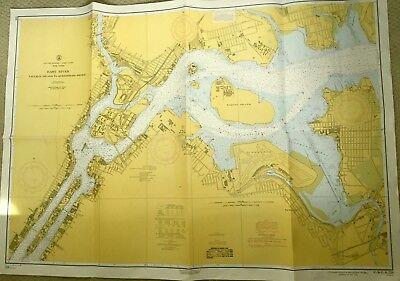 VINTAGE NAUTICAL Maritime CHART MAP New York TALLMAN ISLAND TO QUEENSBORO BRIDGE