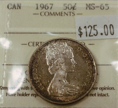 Canada Fifty cent half dollar 1967 ICCS MS65. 567