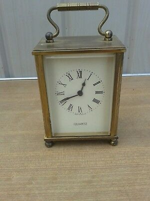 Vintage Heavy Brass And Cut Glass Battery  Quartz Carraige Clock,made In Germany