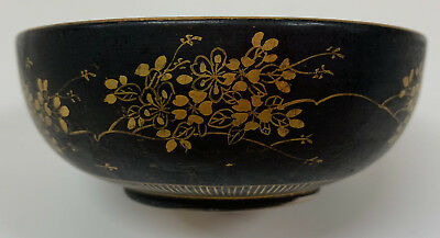 Vintage  Porcelain Bowl Dish Hand Painted Chinese   Antique black gold