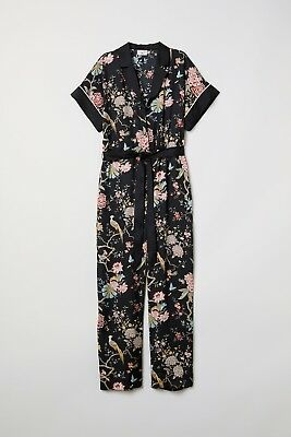 d2960978000 NWT GP   J BAKER x H M Most Popular Bloggers BLACK FLORAL PRINT JUMPSUIT