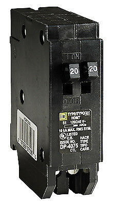 SQUARE D BY SCHNEIDER ELECTRIC Homeline 20-Amp Single-Pole Tandem Circuit Breake