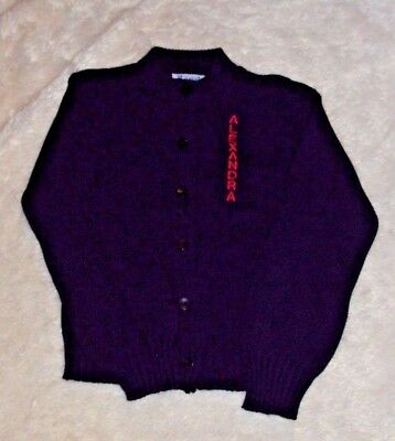 "VINTAGE ROYAL MONOGRAMMED SWEATER ""ALEXANDRA"" Navy Blue Red Button Down Cardigan"