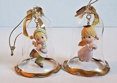 Pair of Precious Moments ornament clear bell ice skater angel 1994 PMI Christmas