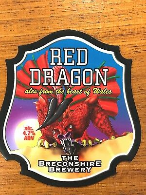 Red Dragon Ale Beer Pump Clip Front Badge Breconshire Brewery Wales NEW