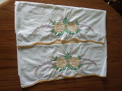 Pair of Vintage/Antique Embroidered Pillowcases, Gold and Purple Flowers