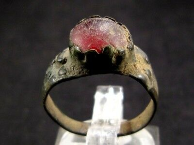 NICE and RARE ROMAN BRONZE RING  w/ RED GLASS STONE+++
