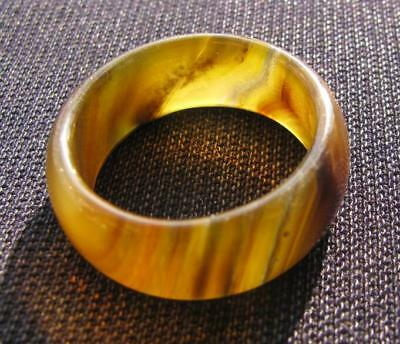 old natural agate jade hand carved band ring sz11