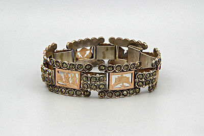 Antique Greek Folk Panel Bracelet, Europe Grand Tour Jewelry in Ottoman Style