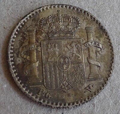 "1896 Puerto Rico  5 Centavos Silver AU Sharp ""Plus Ultra"" Toned Old Collection"
