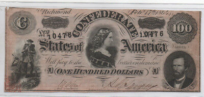 Civil War Confederate CSA T-65 $100 Note Obsolete Currency Lucy Pickens