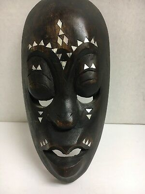 """Old Vintage Hand Carved Decorative African Tribal Wall Art Mask 7 3/4"""" Tall"""