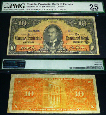 Provincial Bank Of Canada 1936 $10 Orange Back- Beautiful Front & Back Pmg25