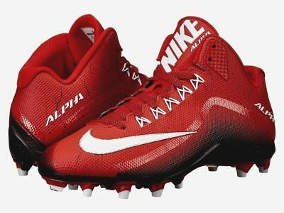 reputable site 32265 abdbf NIKE Alpha Pro 2 Football 34 Cleats Molded 719927 610 RED BLACK WHITE Mens