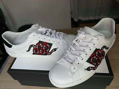 98acaca9483 GUCCI Snake Ace Embroidered Mens sneaker SIZE 11 100% Authentic Original Box