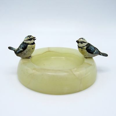 Antique Pair of Vienna Bronze Chickadee Birds on Onyx Tray Base, Cold Painted
