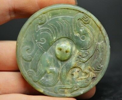 Exquisite Chinese old jade Carved *dragon* Lucky Pendant  Y96