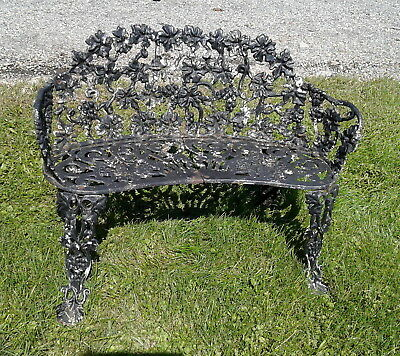 Antique Victorian Cast Iron Grape & Leaf Garden Bench Old Black Paint 1930s Era