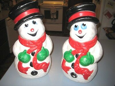 "Pair of Vintage Blow Molds Grand Venture 1999 lighted Snowman  18"" Frosty Xmas"
