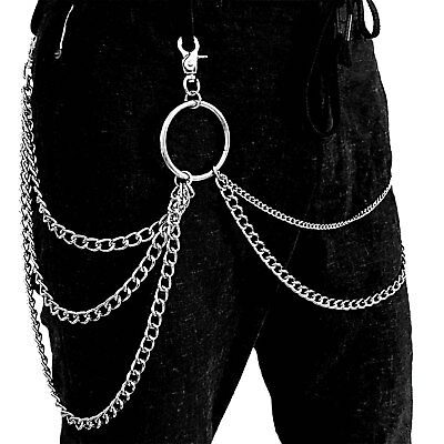 Three Layers tow Sides Metal Pants Trouser Chain Rock Hip Hop Waist decoration