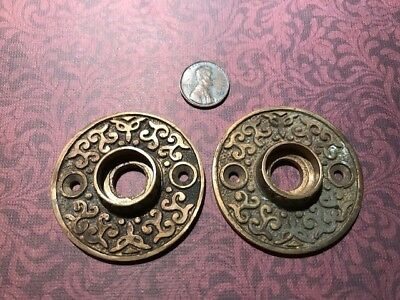Matching Antique Bronze Victorian Eastlake Ornate Door Knob Rosettes