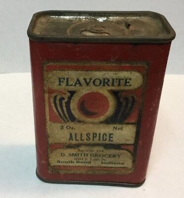 Early Flavorite Allspice Spice Tin D. Smith Grocery South Bend Indiana