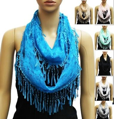Mantilla Delicate Embroidery Dot Tulle Lace Trim Soft Infinity Loop Cotton Scarf