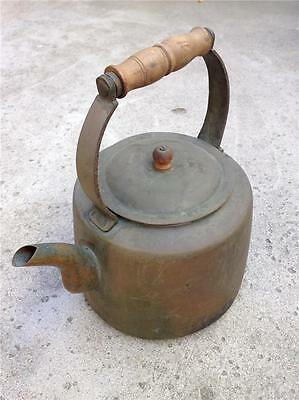 Antique Copper Brass Teapot Kettle with Wood Handle & Spout