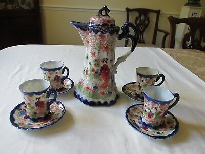 9 Pc Antique Nippon Hand Painted Cobalt Blue Geisha Girl Porcelain Chocolate Set