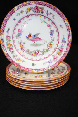 6 George Jones Crescent Ware Paradise Pink Bird Bread & Butter Plates; C. 1915