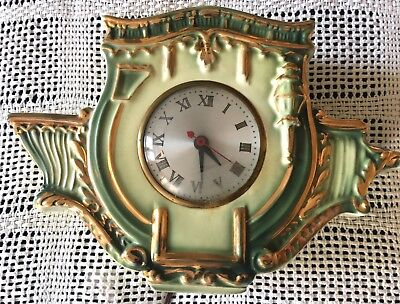 Vtg 1950s 1960s mid century modern wall clock Green retro Hollywood regency