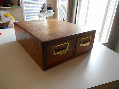 Antique Tiger Oak Library Bureau Card Catalog Index Cabinet Globe 2 Drawer